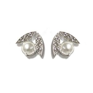 Ti Adoro Leaf Crystal and Pearl Earrings